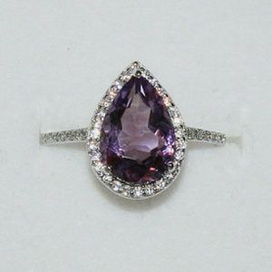Sterling Silver 4 Carat Genuine Amethyst Halo Ring